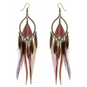 Long Feather Tassel Dangle Earrings